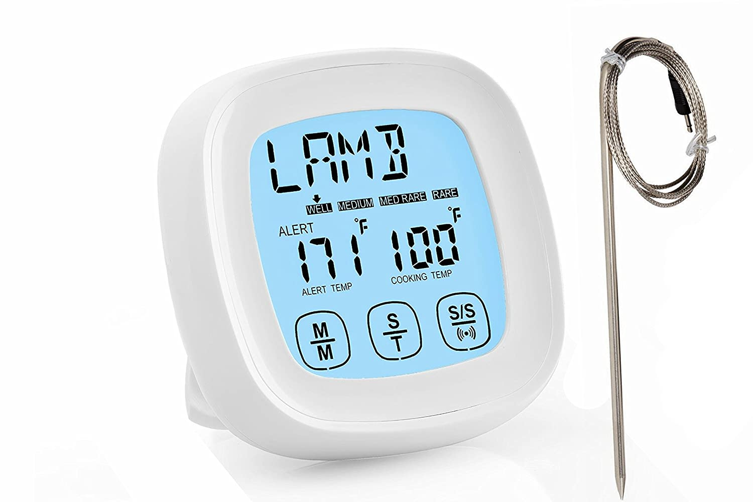 Best Digital Oven Meat Thermometer | Stainless Steel Probe - Instant Read | Kitchen TIMER | Pot Cooking, Microwave, Baking Kitchen Kings