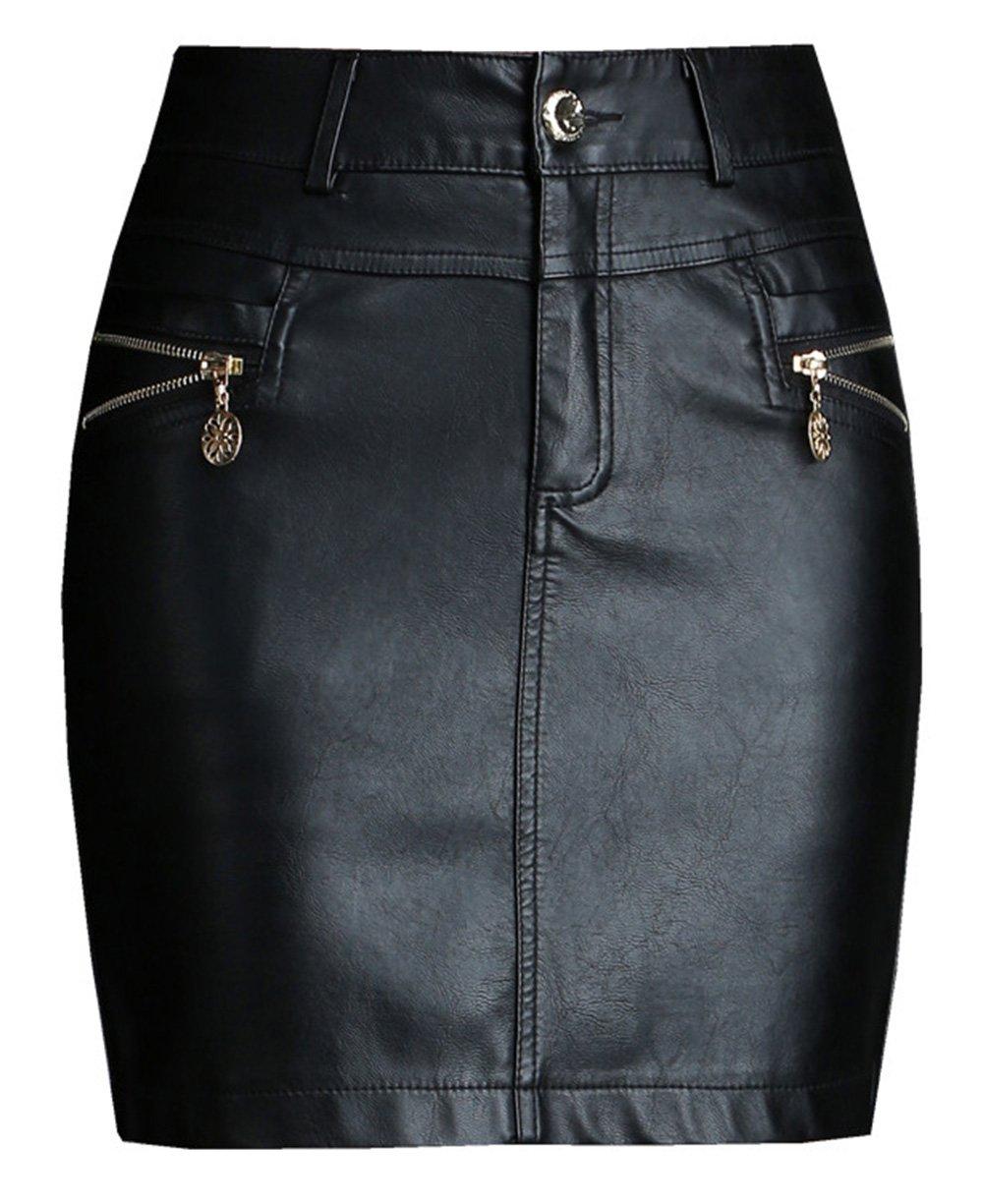 Basic Skirts Trendy XU Black Fine PU Leather Hip One Step Short Mini Skirts (XL)