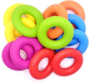 Ring Silicone Beads - Jewelry Necklace Bracelet Making Kit - Food Grade BPA Free Arts And Crafts Supplies (12PC Rainbow)