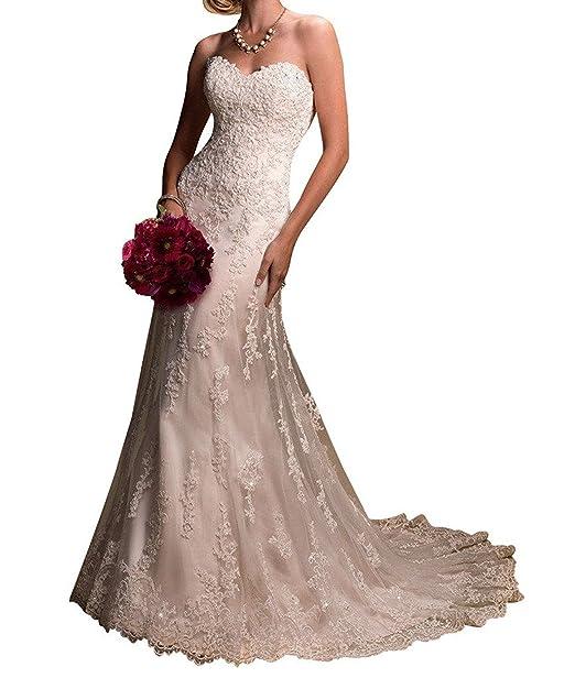 VIPbridal Vestidos de novia de la sirena del amor del cordón de las mujeres largas Backless: Amazon.es: Ropa y accesorios