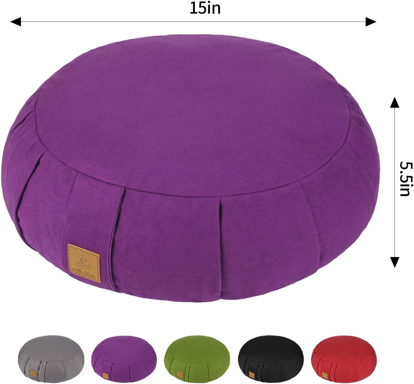 FelizMax Round Zafu Meditation Cushion, Zabuton Meditation Pillow, Yoga Bolster/Pillow, Floor seat, Zippered Organic Cotton Cover, Natural Buckwheat, ...