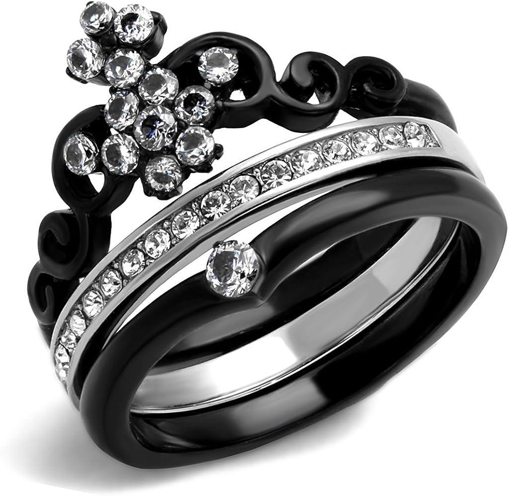 Marimor Jewelry Women's Black Ion Plated Stainless Steel Zirconia Crown Wedding Ring Set Sz 5-10