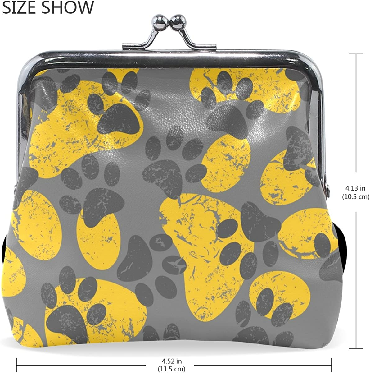 Sunlome Cat Dog Gray Yellow Paws Footprints Coin Purse Change Cash Bag Small Purse Wallets for Women Girl