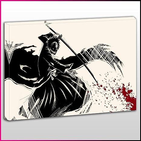 A046 Bleach Ichigo Hollow Máscara en blanco y negro lienzo de enmarcado y listo para colgar