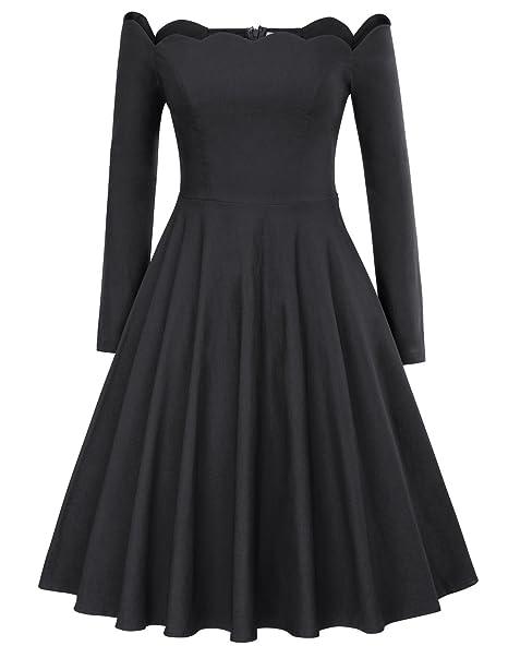 vestido retro de las señoras 50 s vestido de longitud de la rodilla vestido de manga. Pasa el ratón por ...