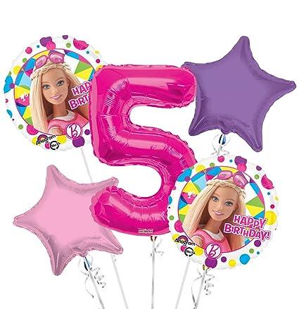 Amazon.com: Barbie el Globo Ramo 5th Cumpleaños 5 Pcs ...