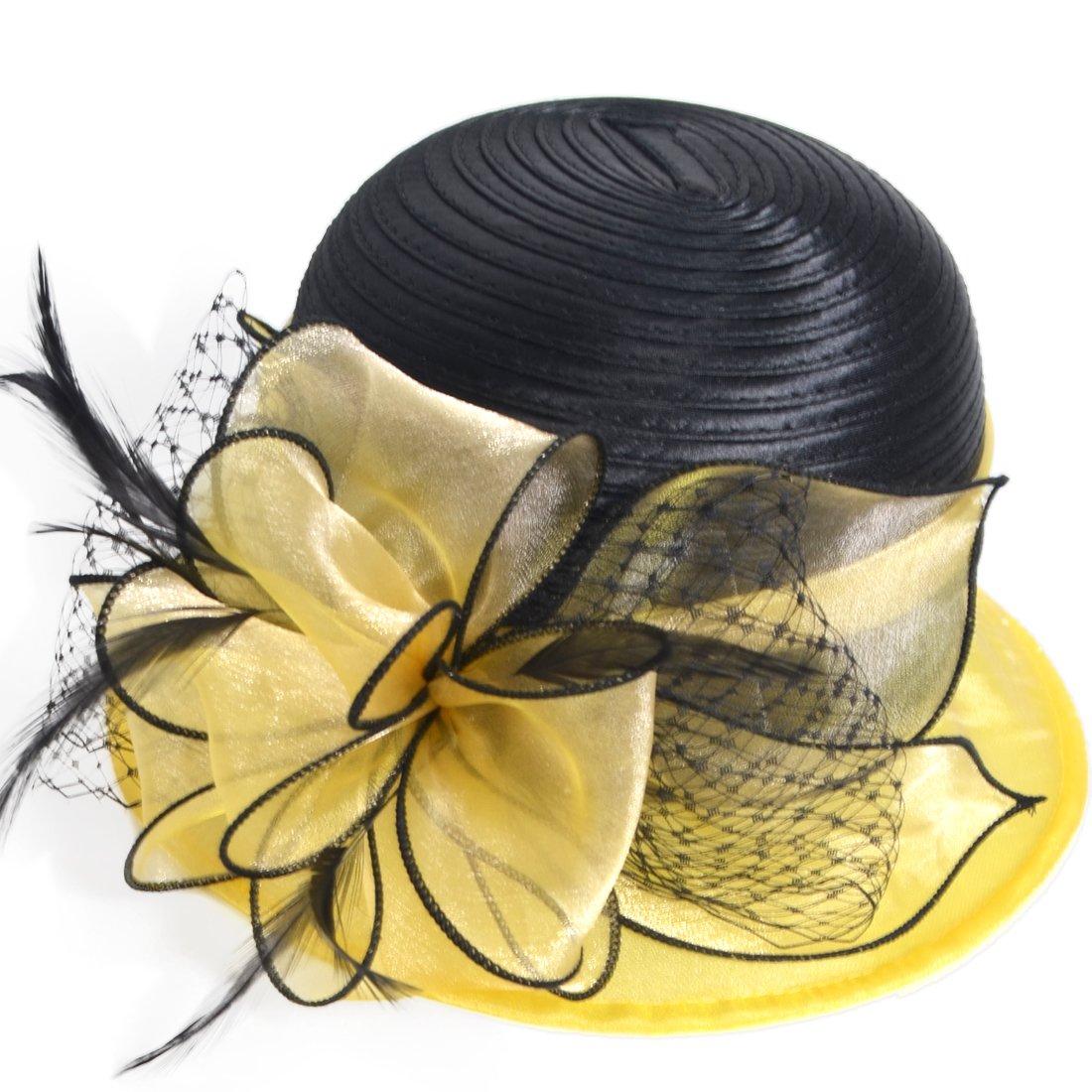 HISSHE Sweet Cute Cloche Oaks Church Dress Bowler Derby Wedding Hat Party S606-A, Yellow, Medium by HISSHE (Image #2)