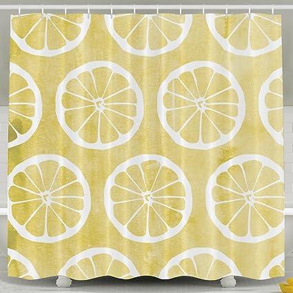 Yellow Lemon Print Shower Curtain Fabric Bathroom Set72x60 Inch
