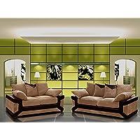 Designer Jumbo Cord Fabric Dino 3+2 Sofa Set in Grey & Brown