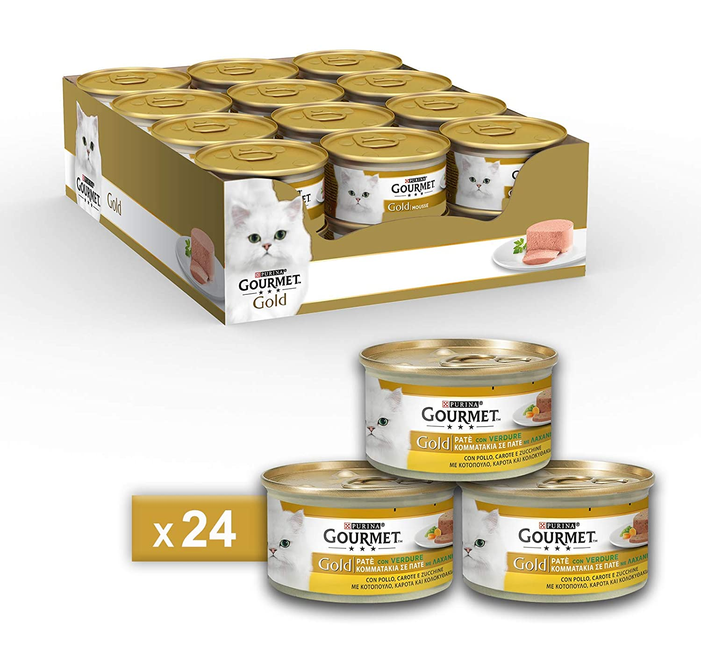 Gourmet Gold Pâté pour Le Chat, avec Légumes, avec Poulet, Carottes et Courgettes, 85g–Lot DE 24Pièces 85g-Lot DE 24Pièces Nestle Purina 12254216