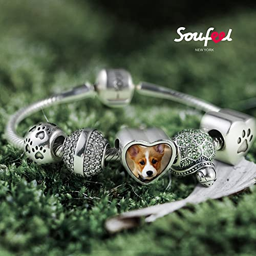 56cf0cf2d SOUFEEL Photo Charm Custom for Bracelets Necklace 925 Sterling Silver Pet  Paws Personalized Jewelry Heart Charms Bead for Women Girls Men:  Amazon.co.uk: ...