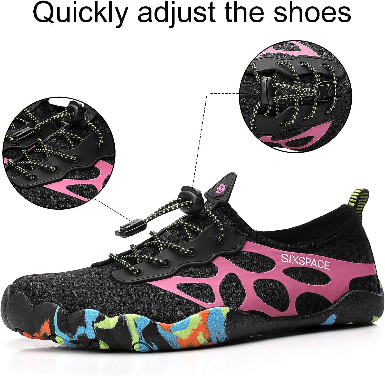 Sixspace Chaussures de bain antidérapantes pour homme femme enfant Rose Rouge