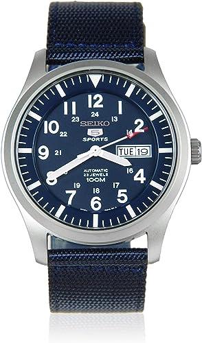 Relógio de homem Seiko 5 desportivo Automático Militar Esfera Azul Lona modelo SNZG11K1
