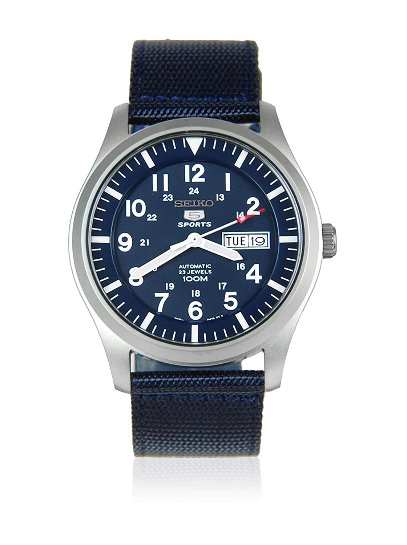 Seiko - SNZG11K1 - 5 Sports - Montre Homme - Automatique Analogique - Cadran Bleu - Bracelet Tissu Bleu: Amazon.fr: Montres