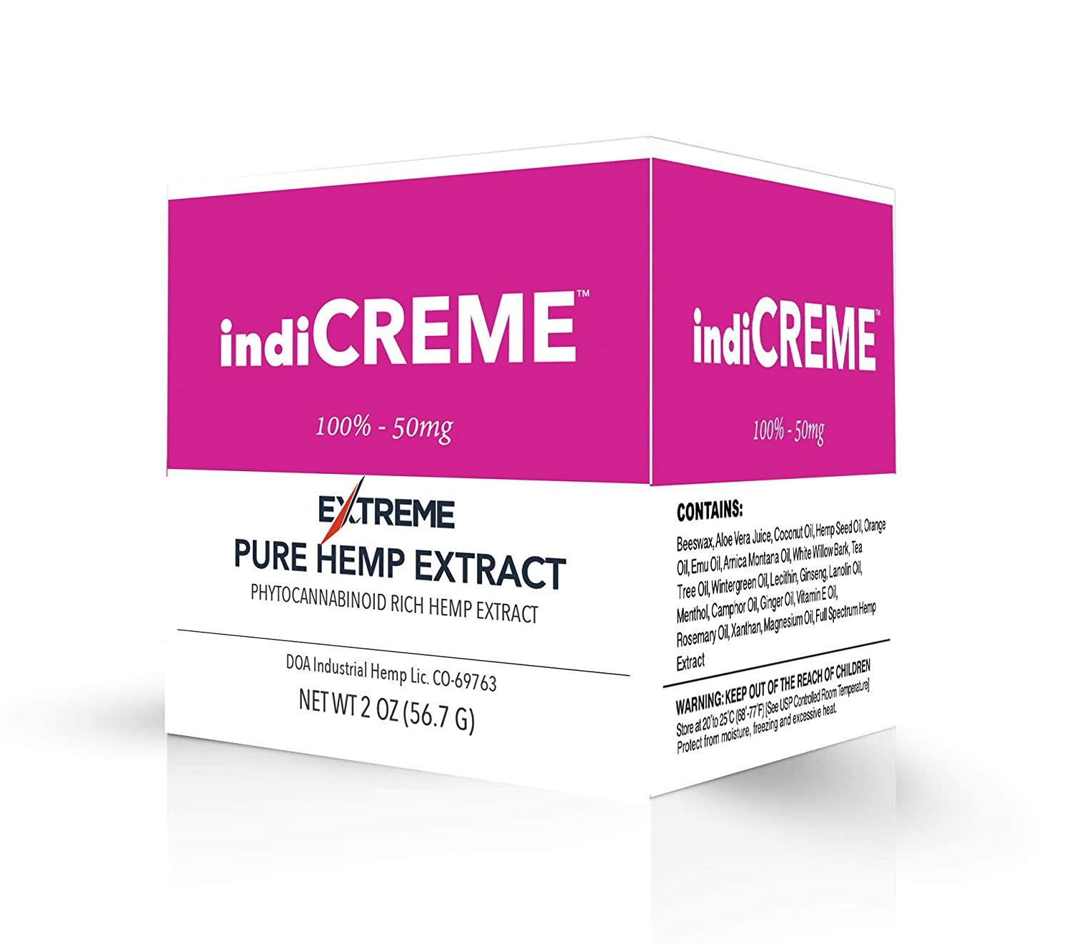 indiCREME Extreme Formula Topical Cream – All-Natural Ingredients - 2 Ounce Jar
