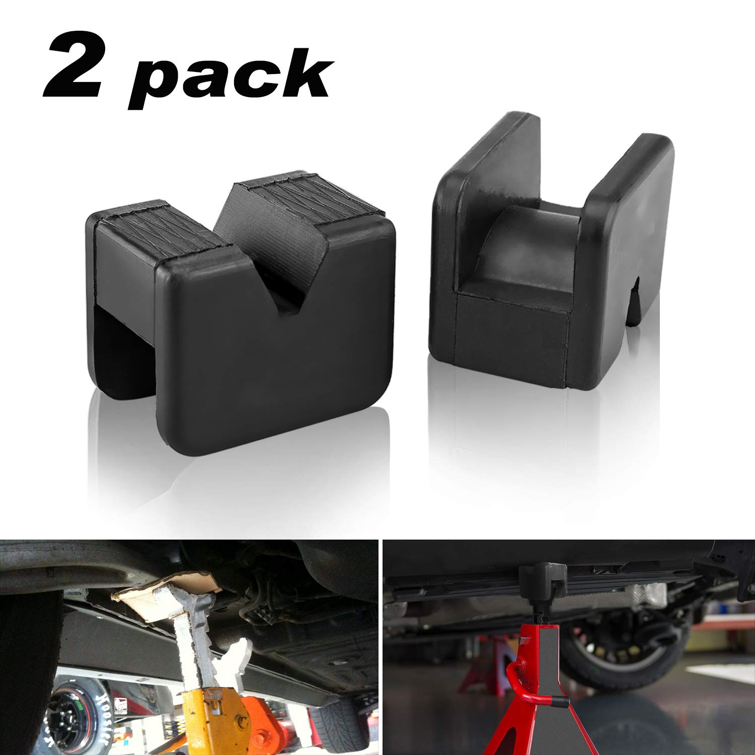 2 Pack Seven Sparta Jack Pad Adapter for Jack Stand 2-3 Ton Universal Rubber Slotted Frame Rail Pinch welds Protector