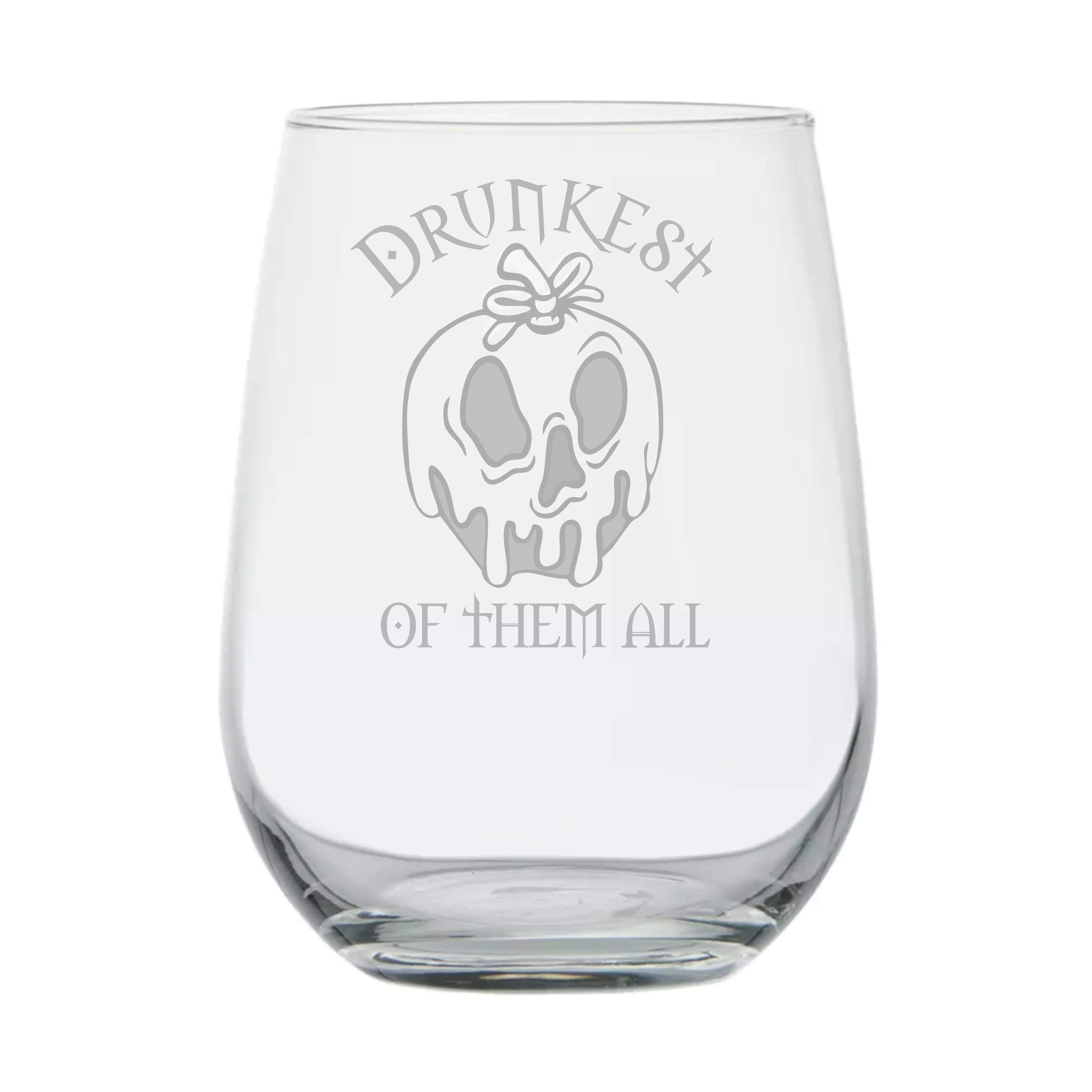 Snow White ★ Drunkest of them All ★ Disney Villain ★ Evil Witch ★ Fairy Tales ★ Funny Birthday Gift ★ Movie Themed Gifts ★ Halloween Wine Glasses ★ Disney Princess Wine Glass ★ Goth Girl