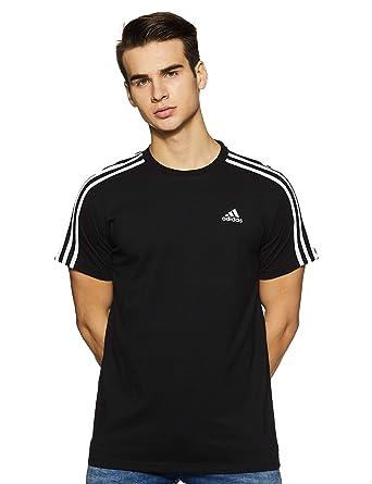 046796031c76 Adidas Men Essentials 3-Stripes Short Sleeve T-shirt - Black, Small