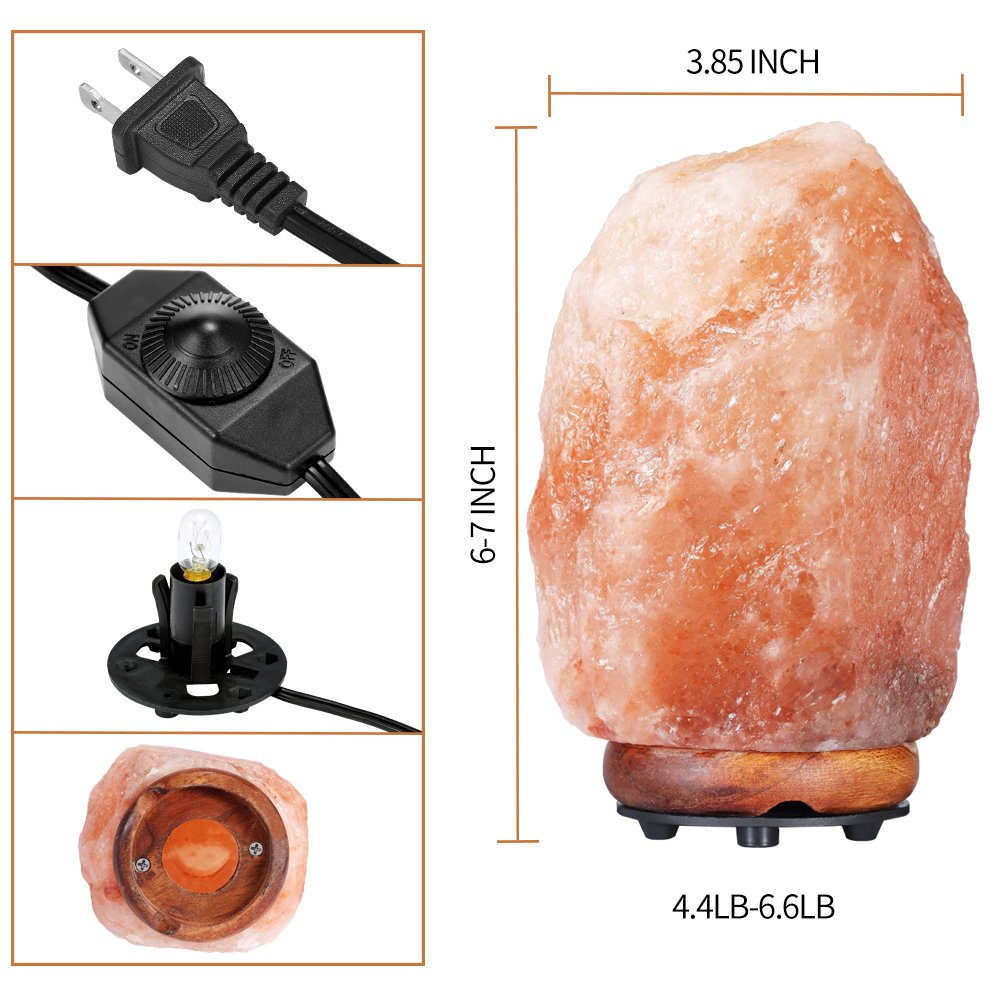 Amazon.com: Swiftrans Himalayan Salt Lamp, Hand Carved Natural Salt Lamp with Wood Base/Bulb and Dimmer Control(7-9): Home Improvement
