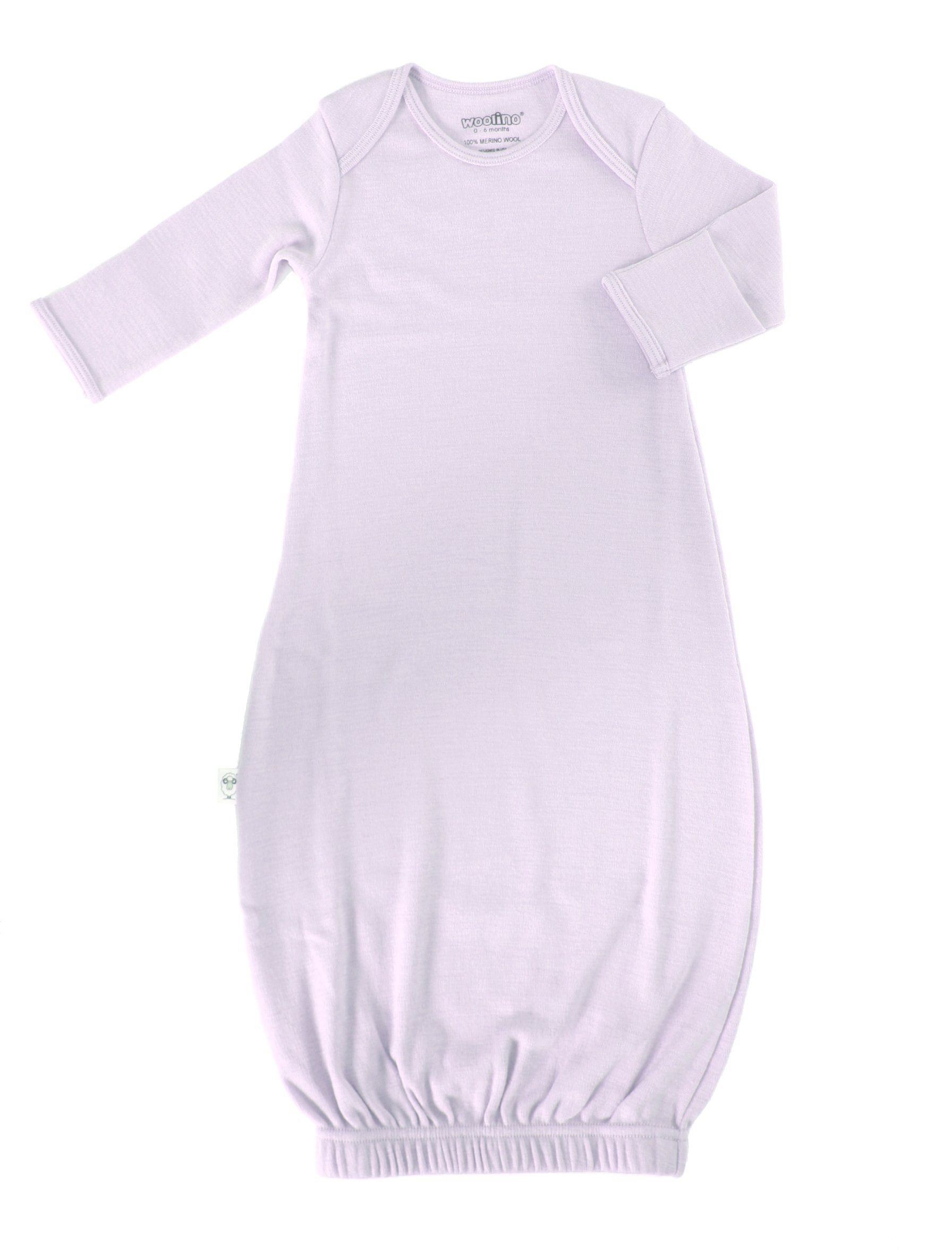 Woolino Infant Gown,100% Superfine Merino Wool, 0-6 Months, Lilac