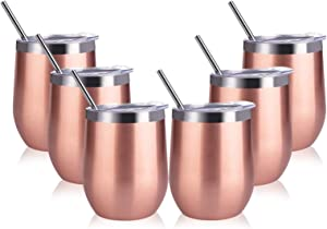 Sangyn 6 Pack Stemless Wine Tumbler, 12 Oz Stainless Steel Wine Glass with Straws and Lids, Unbreakable Double Wall Insulated Tumbler Cup for Wine, Coffee, Drinks, Champagne and Cocktails(Rose Gold)