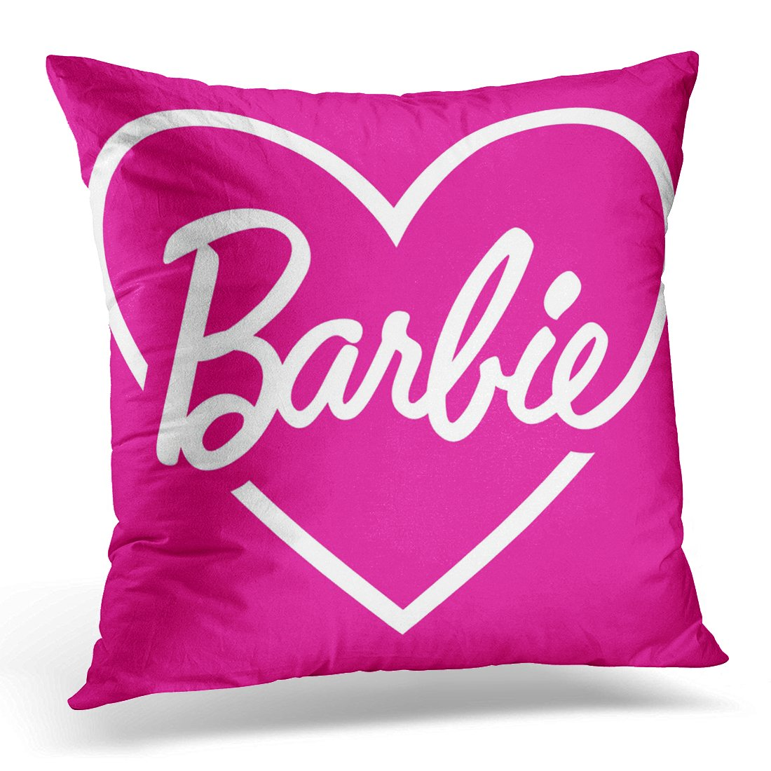 VANMI Throw Pillow Cover Love Barbie Pink Heart Vintage Decorative Pillow Case Home Decor Square 16x16 Inches Pillowcase