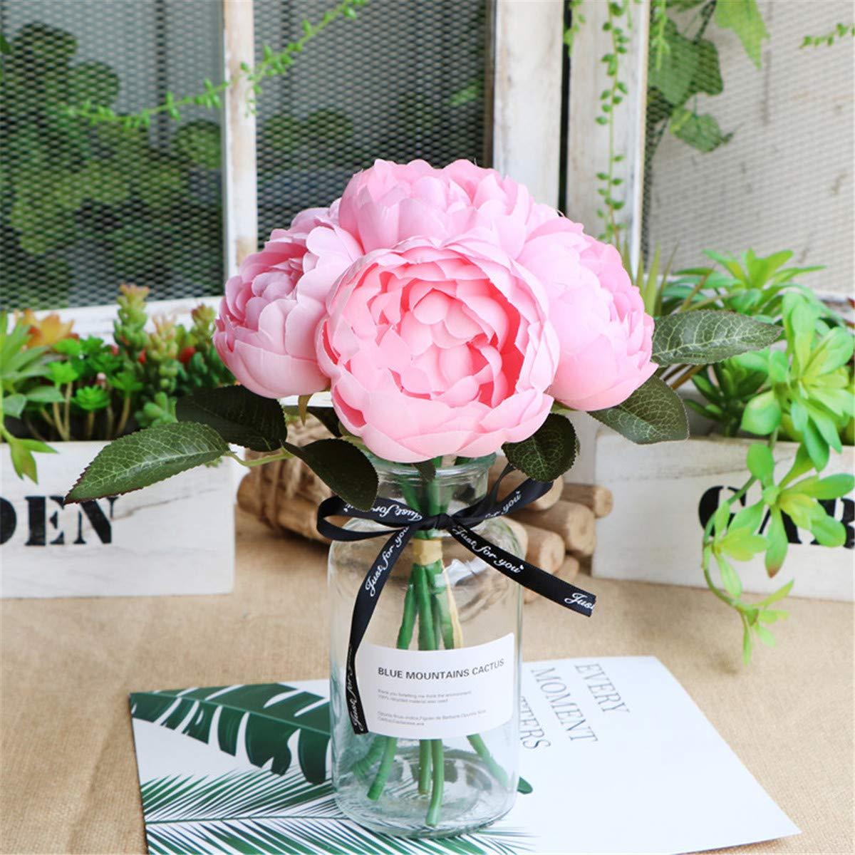 Xin Pang Simulación Rose Bouquet Rosa Redonda Mesa De Café