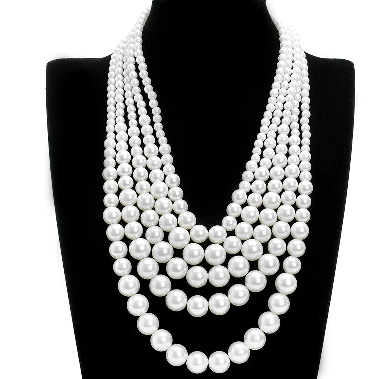 Jerollin Fashion Resin White Faux Pearl Multi Strand 5 Layers Chunky Dressy Bib Necklace Pearl Chain for Christmas Gift WEHsgB