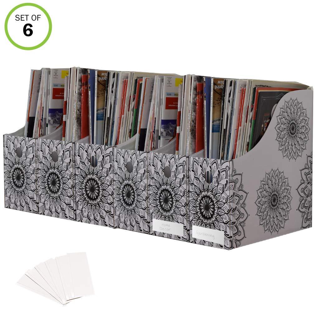 Evelots Magazine File Holder Organizer Boxes W/Labels, Mandala Design- Set of 6