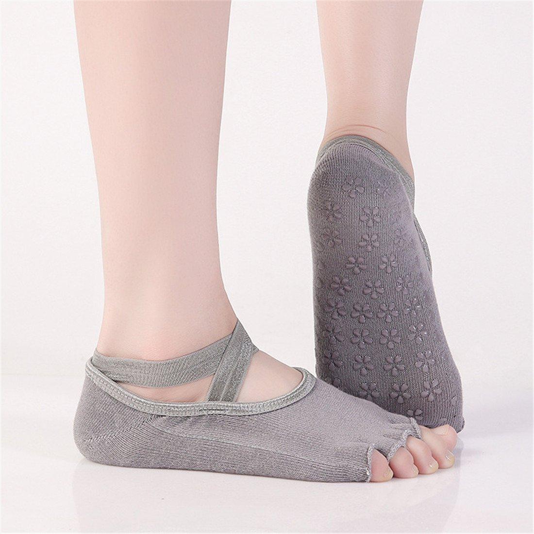 SANIQUEEN.G 2 Pares Mujer de Calcetines de Mitad Dedos Separados para Yoga,Pilates y Baile Calcetines Fitness/Danza/Ballet Calcetín EU 34-40