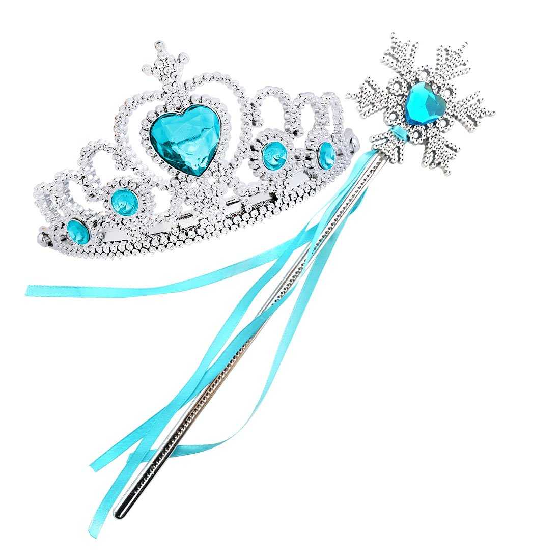 Jeassi Princess Crown Tiara and Wand Set Silver Heart Jewel Princess accessories (Light Blue, Snowflake)