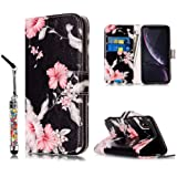 JanCalm Compatible with iPhone XR Case, Floral Pattern Premium PU Leather Wallet [Card/Cash Slots] Stand Flip Cover for iPhon