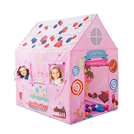 Anyshock Kids Play Tent Princess Playhouse Castle Birthday Cake For Girls Indoor Outdoor