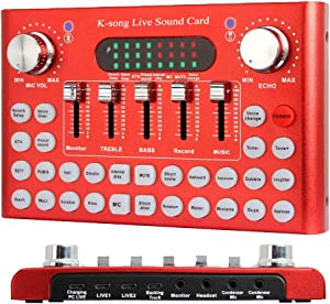 Bluetooth Voice Changer Sound Card, Audio DJ Mixer with Multiple Sound Effects for Live Streaming, Music Recording, Karaoke Singing, Support Mobile Phone, iPhone, PC, Laptop, Tablet [ Red ]