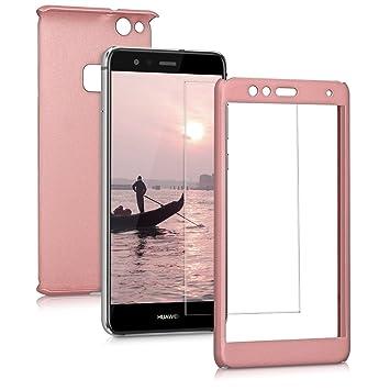 kwmobile Funda para Huawei P10 Lite, Carcasa protectora completa con cristal templado, con protector de pantalla duro