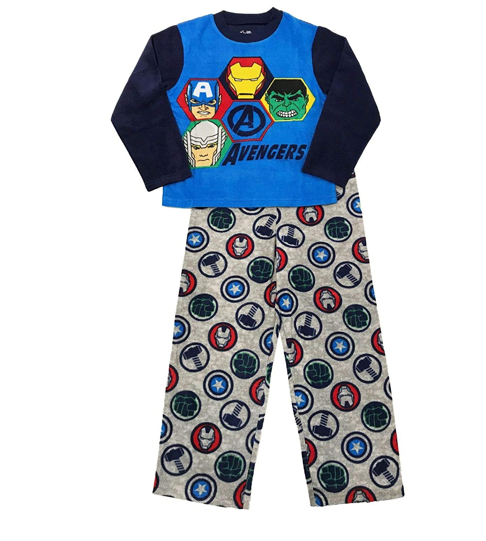 Boys Marvel Avengers Plush Bathrobe /& 2 pc Fleece Pajama Set Size 8