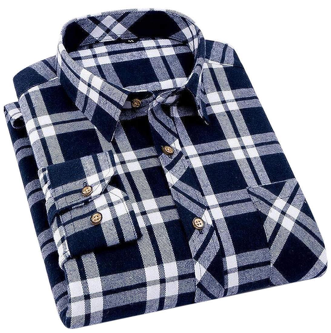 Nanquan Men Casual One Pocket Plaid Print Button Up Slim Fit Long Sleeve Shirt