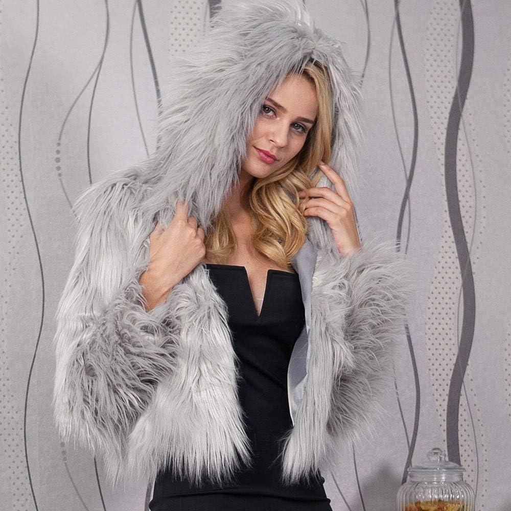 Greatgiftlist Womens Ladies Warm Fluffy Faux Fur Coat Jacket Winter Solid Hooded Parka Outerwear