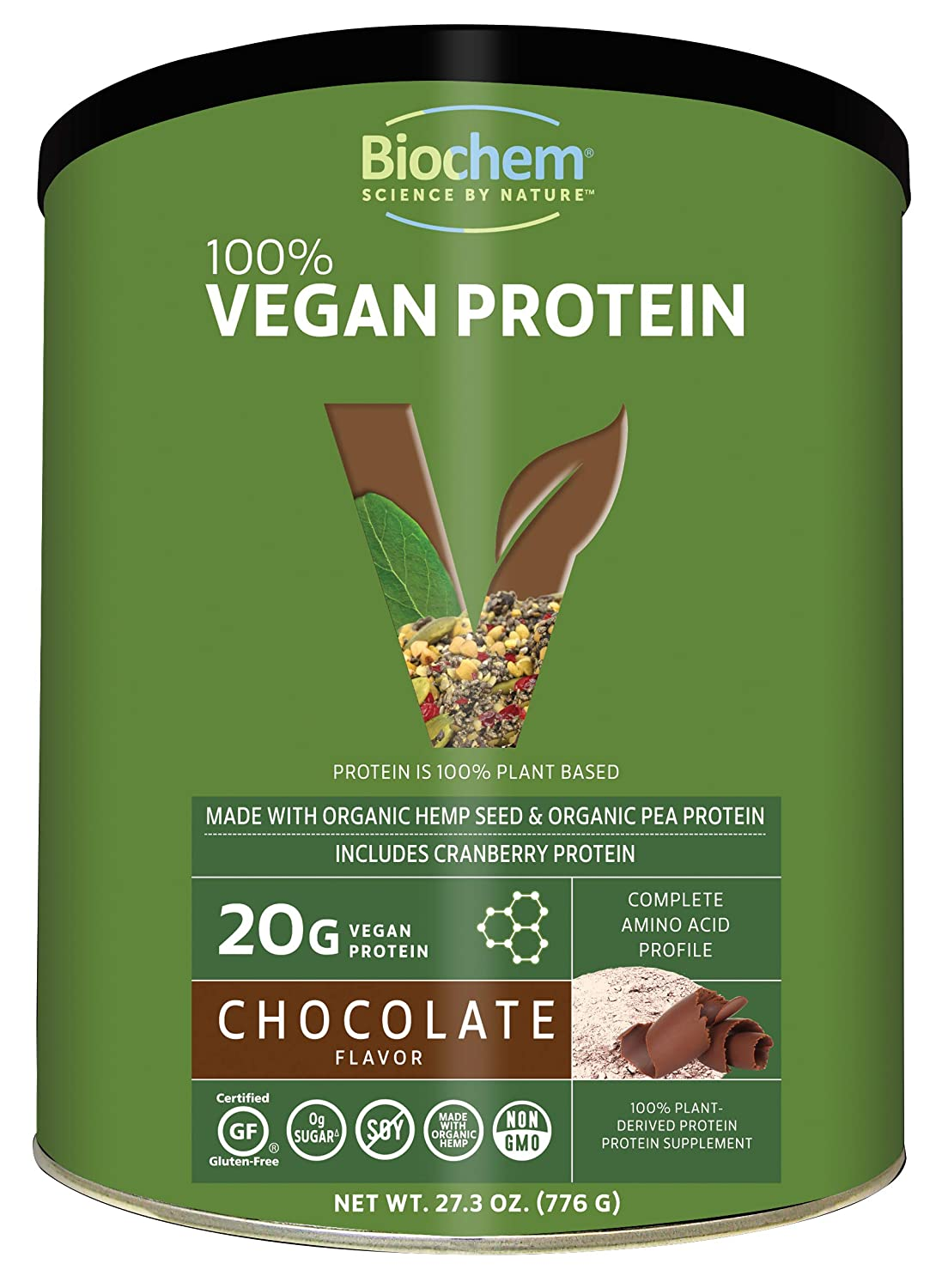 Biochem 100 Plant Protein – Chocolate Flavor – 27.3 Oz – 20g Vegan Protein – Complete Amino Acid Profile – KETO-Friendly – Hemp Seed – Pea Protein – Cranberry – Matcha Tea – Cocoa – Refreshing Taste