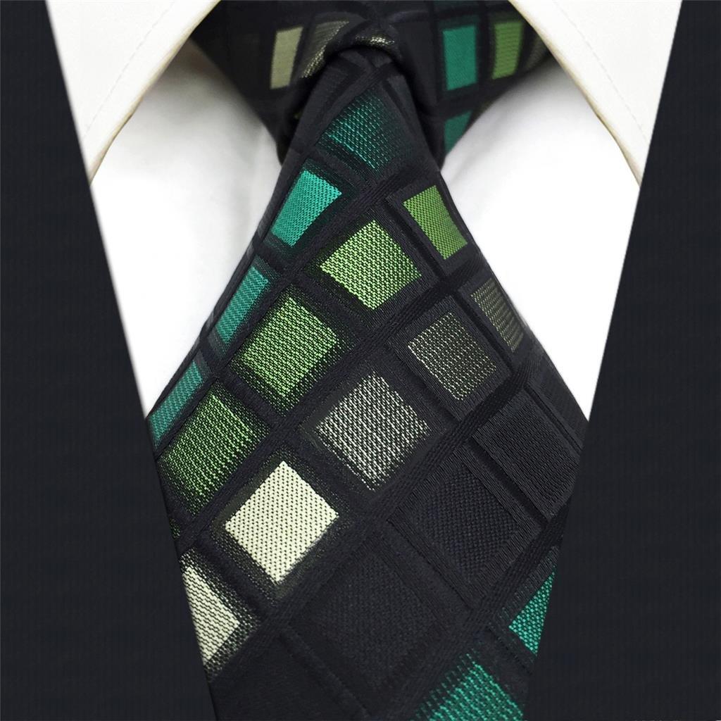 shlax&wing Hombre Nuevo La Moda Seda Corbatas Para Verde Negro a ...