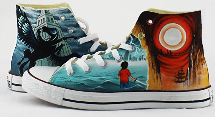 e22cae64a7b8a Amazon.com  Percy Jackson Shoes Custom Hand Painted Canvas Shoes High Top  Sneakers Gifts Men Women Sneakers Free Shipping  Handmade