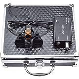BoNew 3.5X Sur~gical Binocular Lou~pes Optical Glass+5W LED Headlight with Filter Clip-on Type + Aluminum Box (Black)