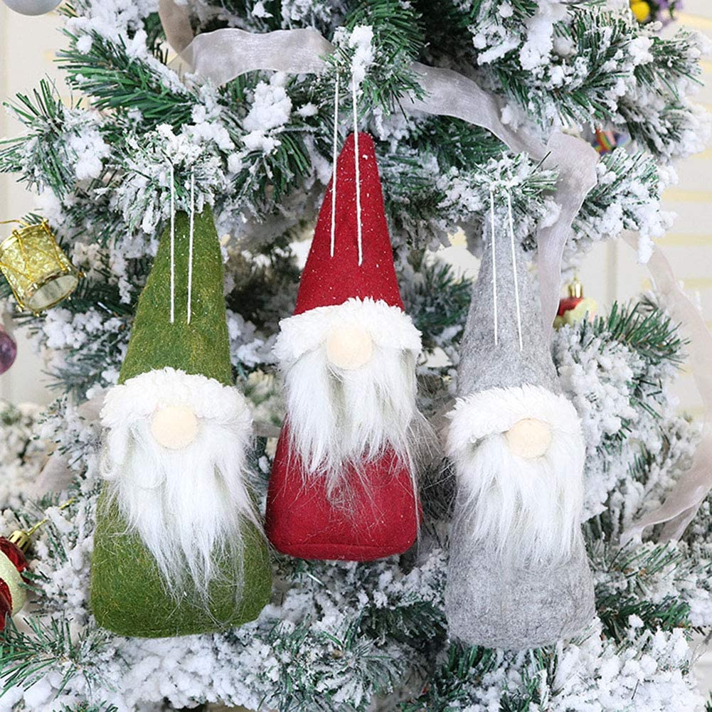Catkoo Christmas Hanging Ornaments Hanger Pendant Gift,Christmas Gnome Santa Claus Plush Doll Hanging Ornament Toy Gift Party Red Round