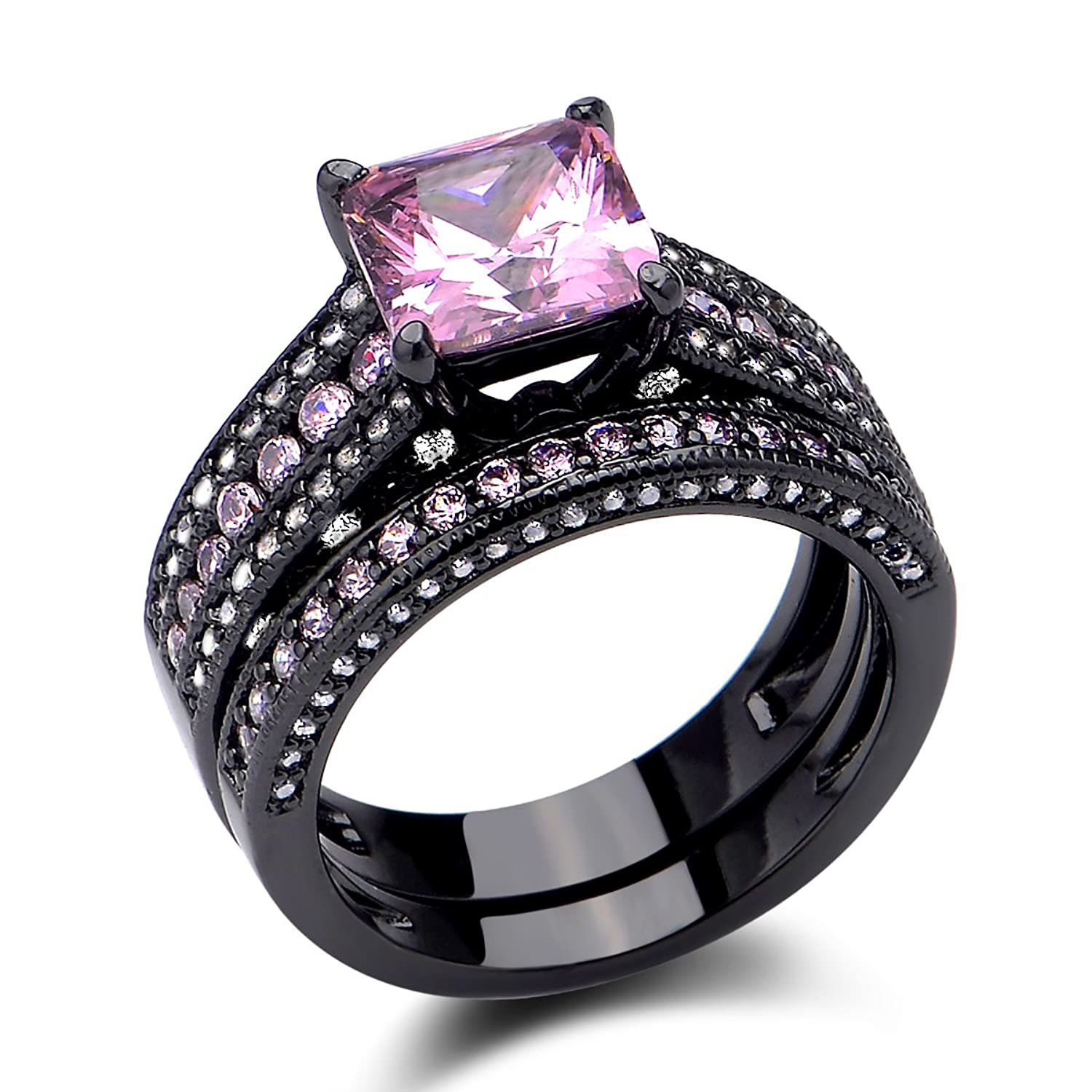 Newshe Black Wedding Ring Set Princess Cz Created Pink Sapphire 925 Sterling Silver Size 5-10