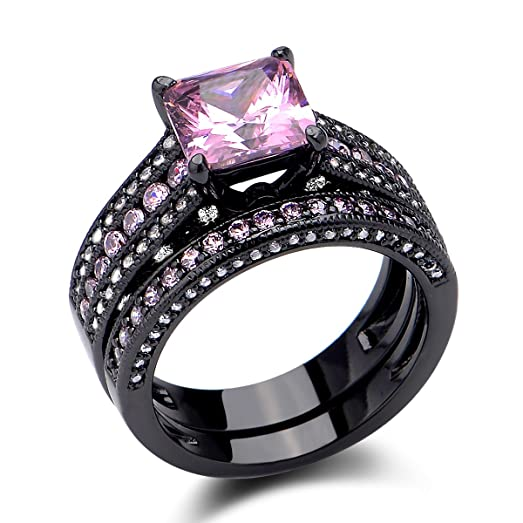 newshe jewellery 35 ct black wedding ring set princess cut created pink sapphire size 5 - Pink And Black Wedding Rings