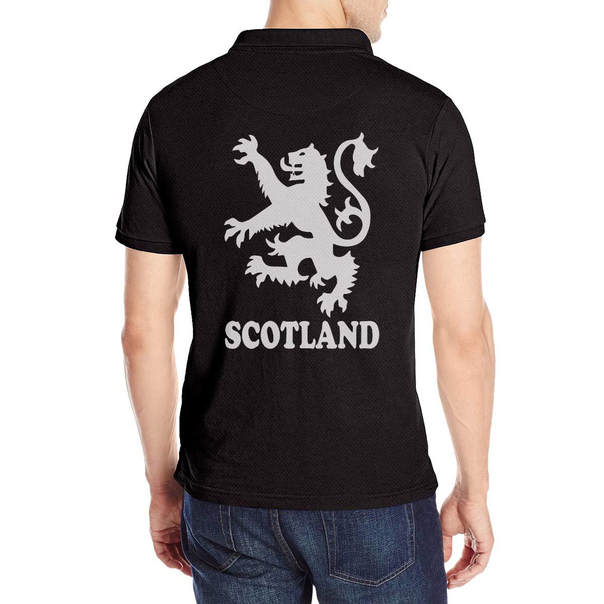 Lion Rampant Scotland Scottish Mens Short Sleeve Polo Shirt Classic-Fit Blouse Sport Tee