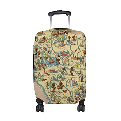 Vintage 1935 South Carolina Map Travel Luggage Protector Baggage Suitcase Cover Fits 18-21 Inch Luggage