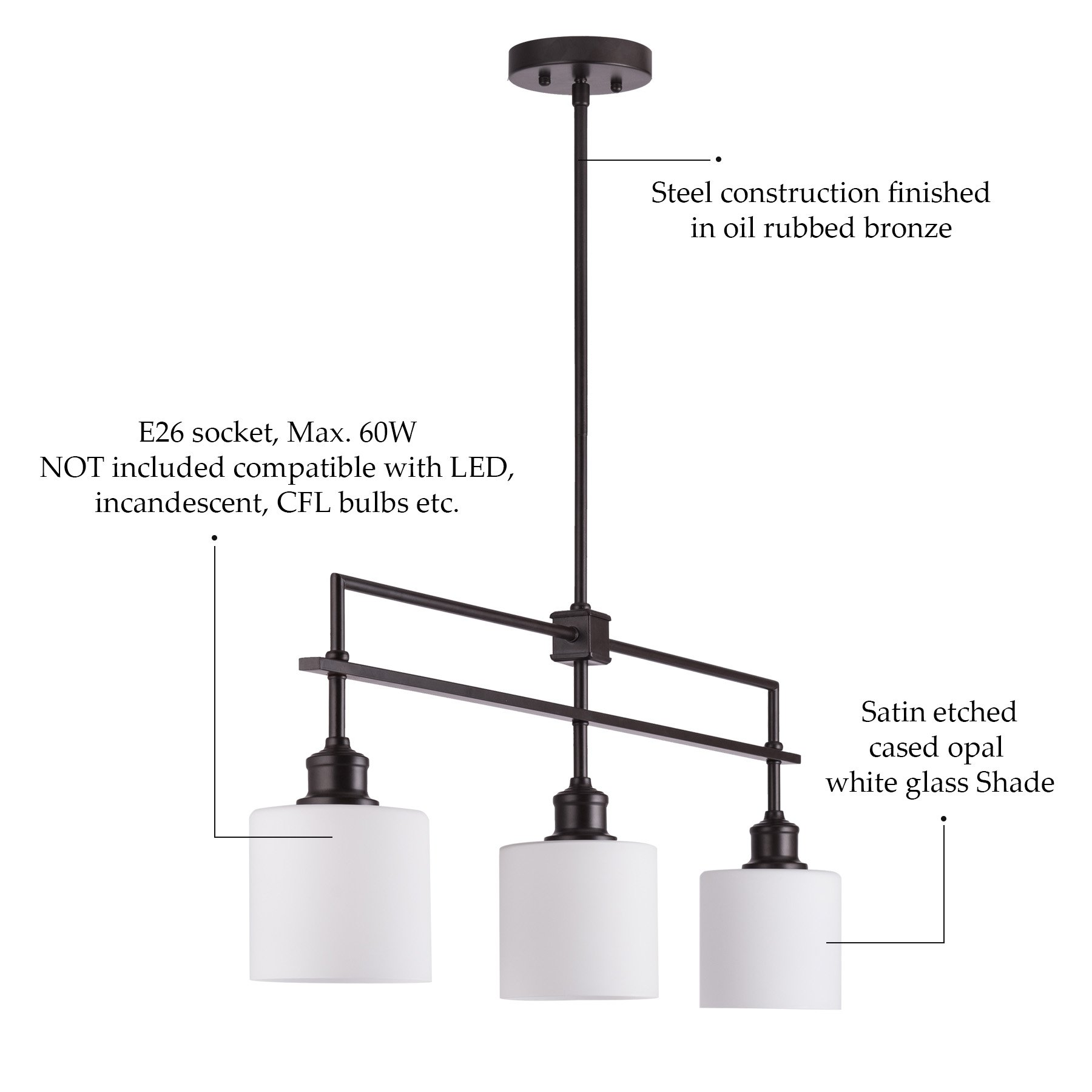 CO-Z Oil Rubbed Bronze Kitchen Island Lighting, 3-Light Linear Pendant Island Chandelier for Billiard Pool Table Dining Room Counter Foyer, Modern Hanging Ceiling Light Fixture with Opal Glass Shade by CO-Z (Image #6)