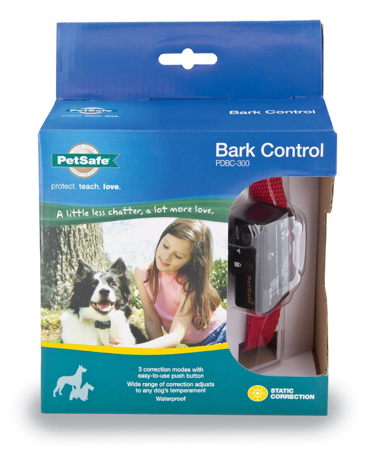 PetSafe Deluxe Bark Control Collar (PDBC-300) for Dogs 8 lb. and Up, Waterproof, 3 Modes of Static Correction