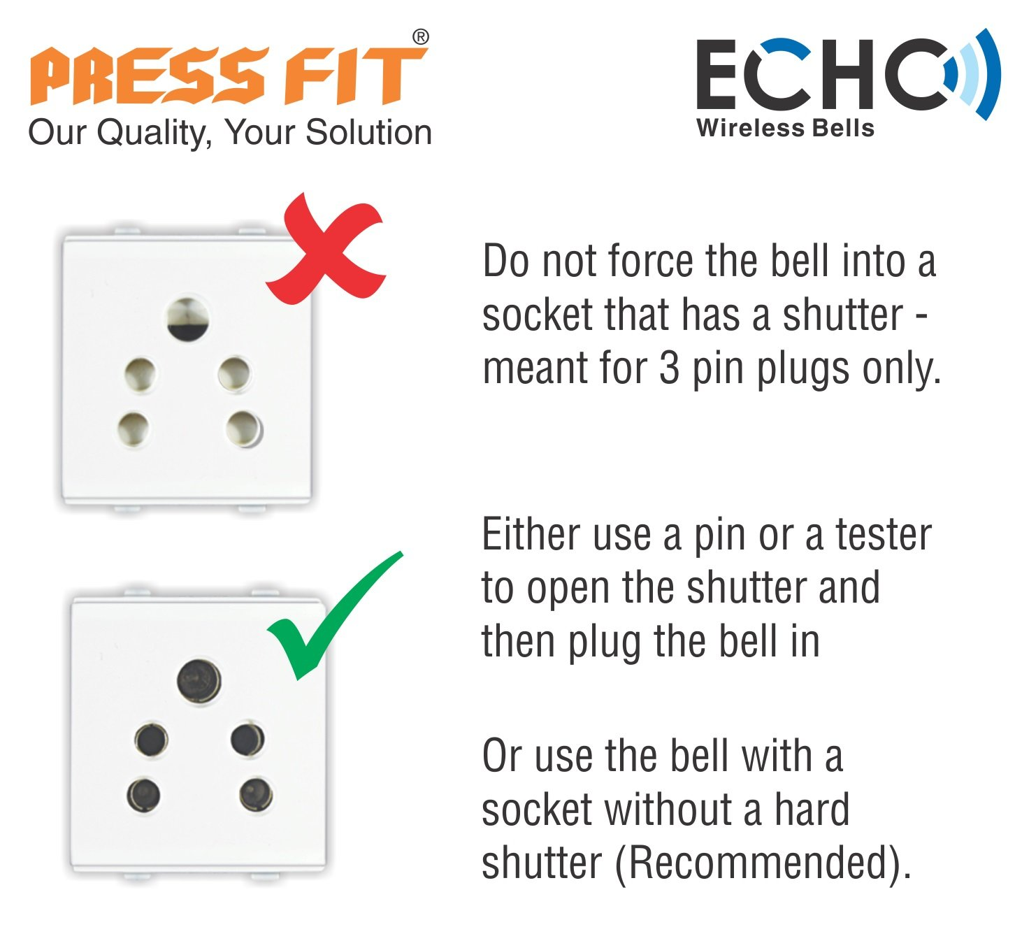 Press Fit Echo-V Auto-Learning Wireless Bell (Plug-in) (Bright Blue)